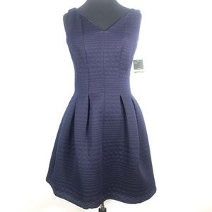 NWT Taylor Navy Blue Quilted Fit & Flare Dress 4